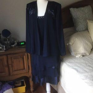 SL Fashions Sleeveless Dress with Sheer Jacket 16